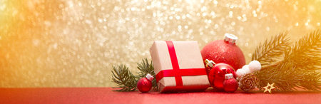 Foto de View of a Christmas background with christmas balls, gifts and decoration - Imagen libre de derechos