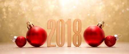 Photo pour View of a Happy new year 2018 background with christmas decoration - image libre de droit