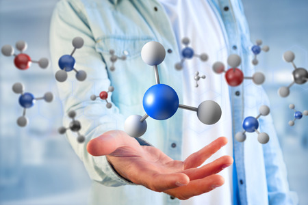 Photo for View of a 3d rendering molecule on a displayed on a medical interface  - Royalty Free Image