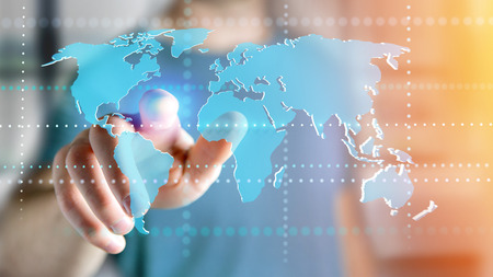 Photo for View of a Businessman holding a Connected world map on a futuristic interface - 3d render - Royalty Free Image