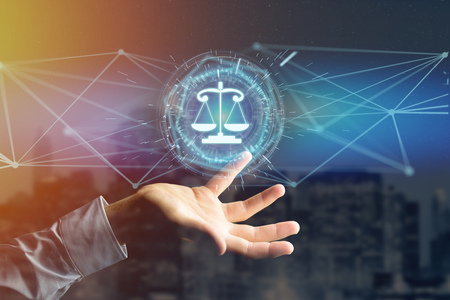Photo for View of a justice balance icon on a futuristic interface  - Royalty Free Image