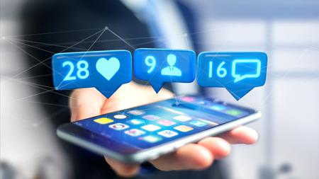 Foto de View of a Businessman using a  smartphone with a Like, Follower and message notification on social network - 3d render - Imagen libre de derechos