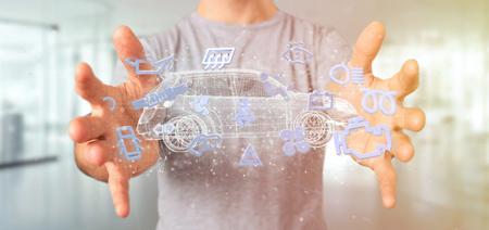 Foto für View of a Man holding  Smartcar icon around an automobile 3d rendering - Lizenzfreies Bild