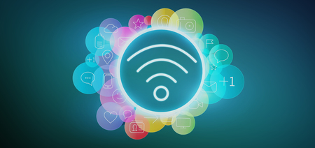 Photo for View of a Wireless icon surrounding by colorfull social media icon 3d rendering - Royalty Free Image