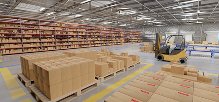 Photo pour View of a Warehouse goods stock  3d rendering - image libre de droit