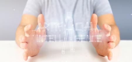 Photo pour View of a Businessman holding an artificial inteligence robot made of light 3d rendering - image libre de droit