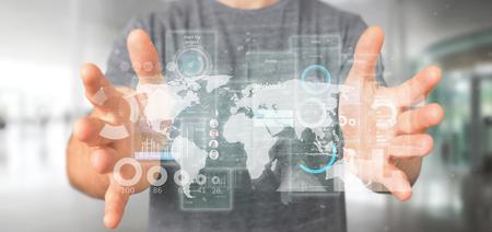 Foto de View of Businessman holding User interface screens with icon, stats and data 3d rendering - Imagen libre de derechos