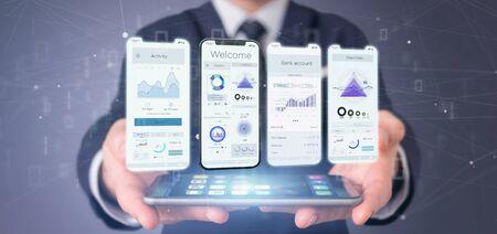 Foto de View of an Application interface UI on a smartphone - 3d rendering - Imagen libre de derechos