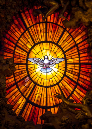 Photo for ROME, ITALY - AUGUST 24, 2018: Throne Bernini Holy Spirit Dove Saint Peter's Basilica Vatican Rome Italy. Bernini created Saint Peter's Throne with Holy Spirit Dove Stained Glass Amber in 1600s - Royalty Free Image