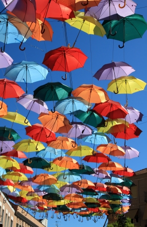 Foto de Street decorated with colored umbrellas Madrid,Getafe, Spain - Imagen libre de derechos