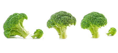 three broccoli isolated on white background