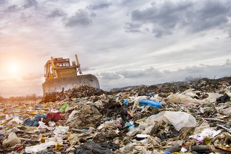 Foto de bulldozer working on landfill with birds in the sky. Sunset - Imagen libre de derechos