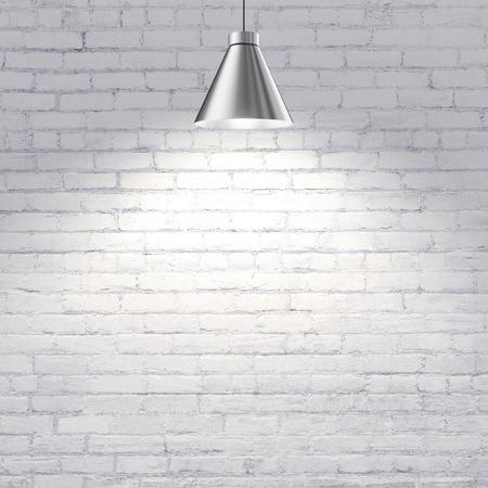 Foto de white brick wall with ceiling lamp - Imagen libre de derechos