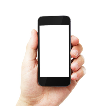 Photo pour hand with empty cell phone on white background - image libre de droit