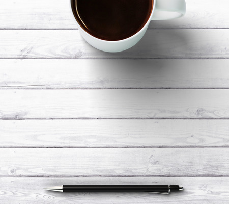 Photo pour cup of coffee with pen and place for you text - image libre de droit
