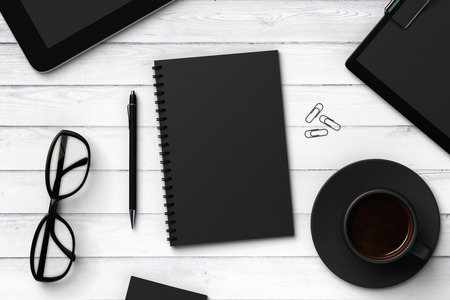 Photo for Black blank notebook and accessories, mock up - Royalty Free Image