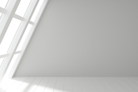 Photo for Modern light room with windows in floor and wooden white floor - Royalty Free Image
