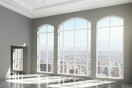 Foto de MOdern room with windows in floor and city view - Imagen libre de derechos