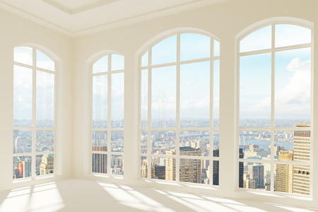 Photo for Big light modern room with city view - Royalty Free Image