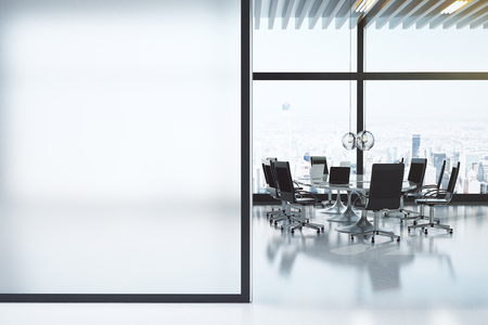Photo pour Modern white meeting room with copyspace - image libre de droit