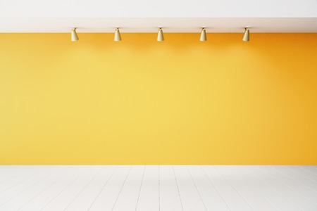 Foto de Empty interior with orange wall and white floor - Imagen libre de derechos