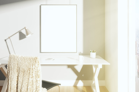 Photo pour Blank picture frame on the wall in sunny room with lamp on the table and chair, mock up - image libre de droit