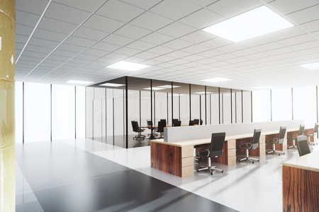 Photo for Modern light open space office with conference room - Royalty Free Image