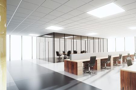 Photo pour Modern light open space office with conference room - image libre de droit