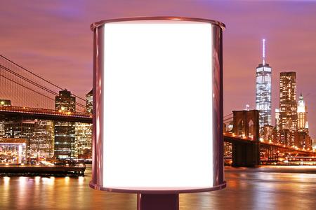 Foto de Blank billboard on the night city backgound, mock up - Imagen libre de derechos
