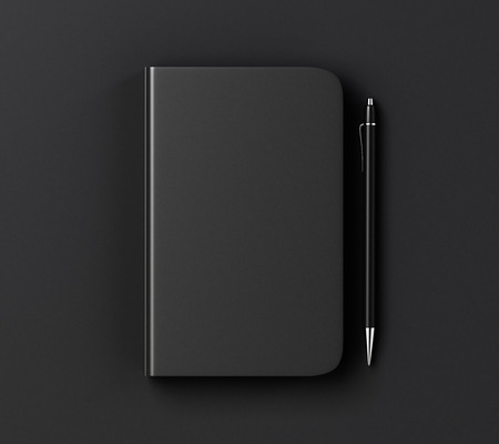 Photo for Blank black diary cover and pen on black table, mock up - Royalty Free Image