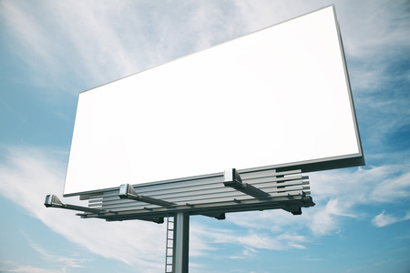 Photo pour Blank billboard at blue sky backgound, mock up - image libre de droit