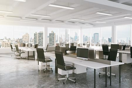 Photo pour Modern open space office with city view - image libre de droit