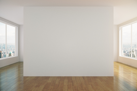 Photo for Modern sunny empty loft room with white wall and wooden floor - Royalty Free Image