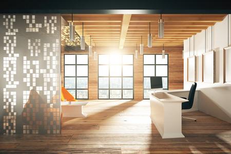 Foto de Modern sunny wood style reception hall with big windows - Imagen libre de derechos