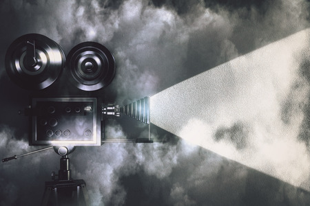 Photo for Vintage camera making a film in the dark room with clouds - Royalty Free Image