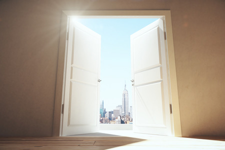 Photo for Open doors from empty room to megapolis city with skyscrapers - Royalty Free Image