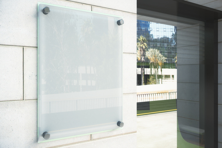 Photo for Blank glassy signboard on the wall outdoor, mock up - Royalty Free Image