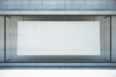 Photo for Large blank banner in a shop window, mock up - Royalty Free Image
