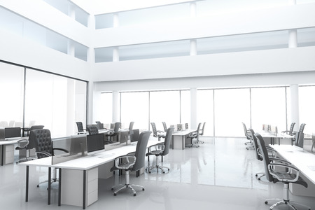 Photo pour Large, bright modern office with windows and furniture - image libre de droit