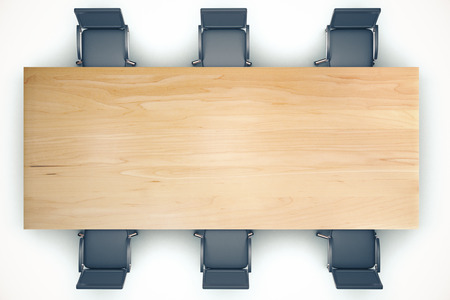 Photo for Top view on conference wooden table and black chairs - Royalty Free Image