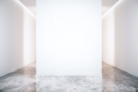Photo pour Blank white wall in room with grey marble floor. Mock up, 3D Render - image libre de droit