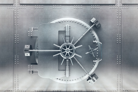 Photo pour Front  view of light silver bank vault door, closed. 3D Render - image libre de droit