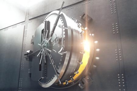 Photo pour Closeup of an open bank vault door with golden light peeking from inside. 3D Render - image libre de droit