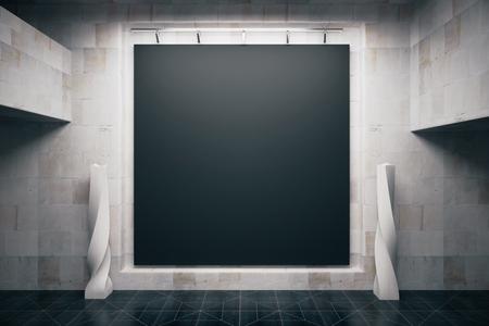 Foto de Front view of blank blackboard in empty concrete interior. Mock up, 3D Render - Imagen libre de derechos