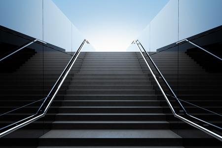 Photo pour Empty black stairs in pedestrian subway. 3D Render - image libre de droit