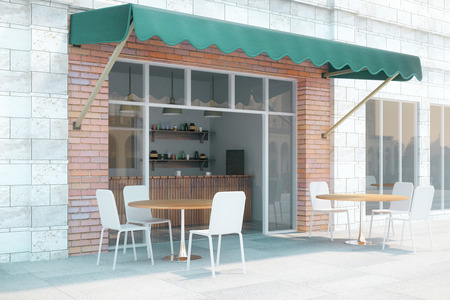 Photo pour Small cafe with brick walls and green canopy exterior design. 3D Render - image libre de droit