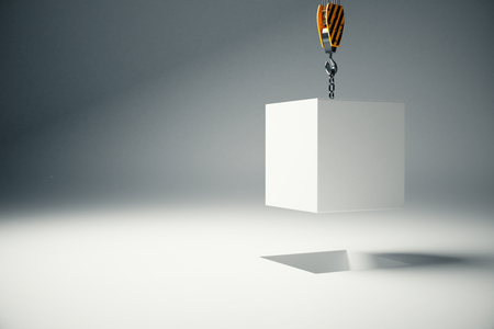 Photo pour White block suspended on crane hook on light background. 3D Rendering - image libre de droit