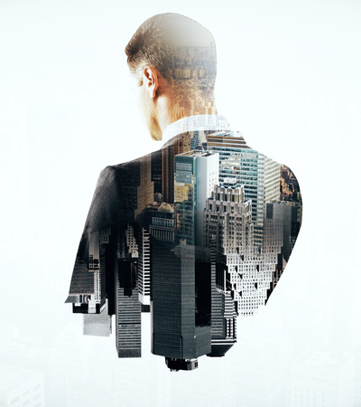 Back view of thoughtful businessman and city on light background. Double exposure