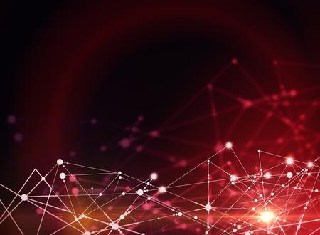 Photo pour Abstract connections on red background. Tech concept - image libre de droit