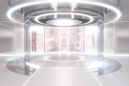 Foto de Abstract glowing light teleportation station with business panels. Future concept. 3D Rendering - Imagen libre de derechos